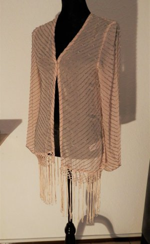 Fransen Kimono Blogger Fashion BoHo Chiffon Netz Perlen