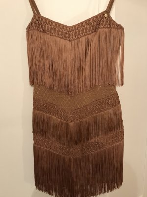 Elisabetta Franchi Fringed Dress light brown-cognac-coloured