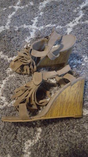Stradivarius Wedge Sandals cognac-coloured