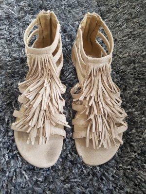 Fransen Pompom Sandalen 36 nude beige Römer Sandaletten Flipflops Riemchen Wedges Festival Top