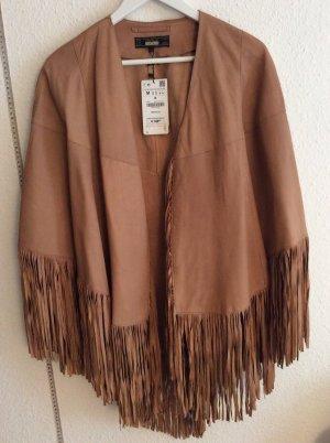 Fransen Poncho Cape  Echt Leder Zara