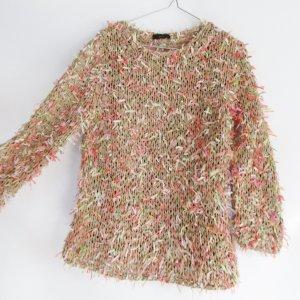 Fransen Pullover Pastel oui Größe 38 M Rosa Beige Weiß Grün Soft Colour Strickpullover Grobstrick Pulli Neon Bändchengarn