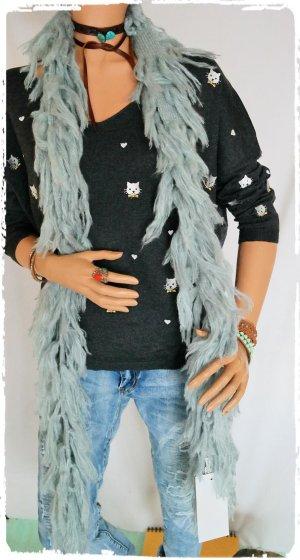 Fransen Schal aus Ibiza in hellblau / grau