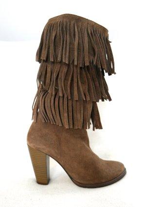Fransen Stiefel aus Leder in braun