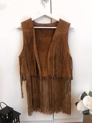 Zara Fringed Vest brown-camel