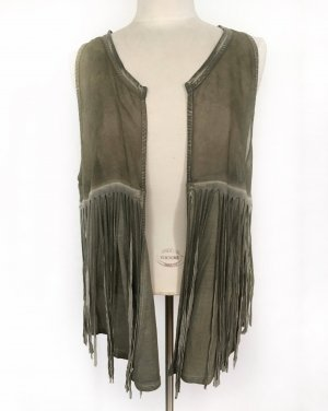Marc Aurel Fringed Vest green grey