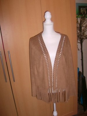 Biker Jacket camel synthetic fibre