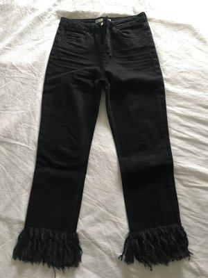 Fransenjeans Topshop black denim schwarze Jeans high waist