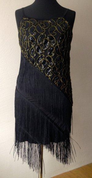 Vestido con flecos negro-color oro fibra textil