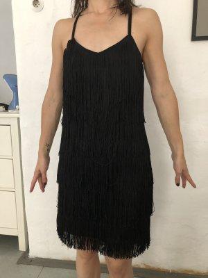 Robe à franges noir tissu mixte