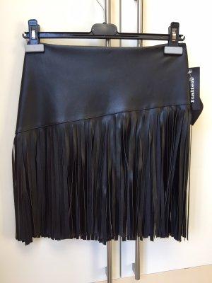 Falda de cuero de imitación negro Poliéster