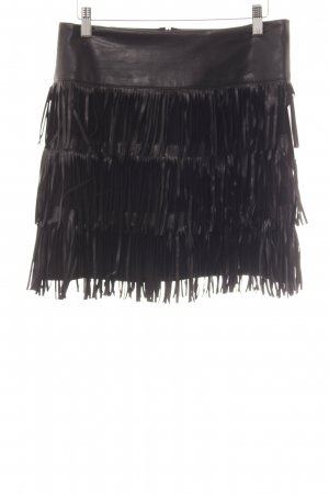 Fringed Skirt black material mix look