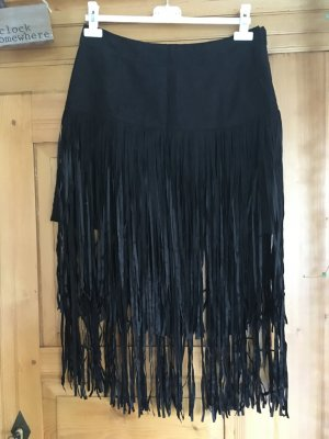 JustFab Fringed Skirt black