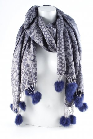 Fringed Scarf blue-pale blue embellished pattern casual look