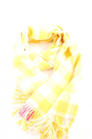 Fringed Scarf cream-yellow check pattern casual look