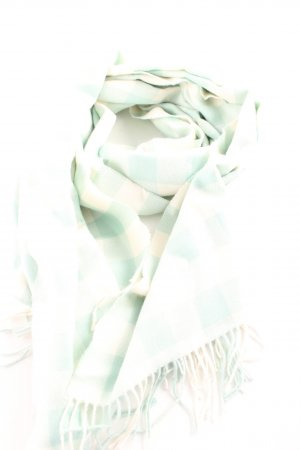 Fringed Scarf cream-sage green check pattern casual look