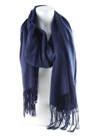 Bufanda de flecos azul oscuro look casual