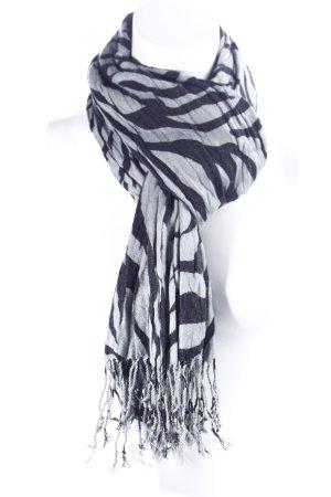 Fransenschal grau-schwarz Animal-Look