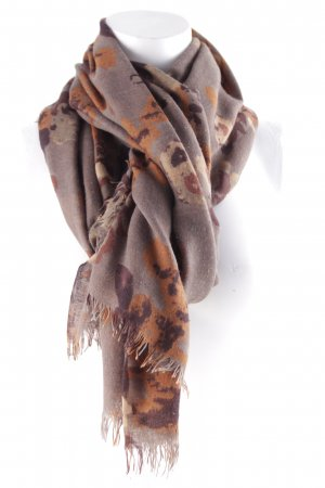 Fransenschal graubraun-braun abstraktes Muster Casual-Look