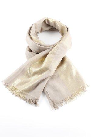 Sjaal met franjes grijs-bruin-goud casual uitstraling