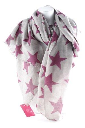 Sjaal met franjes grijs-bruin-paars Sterrenpatroon Jaren 90 stijl