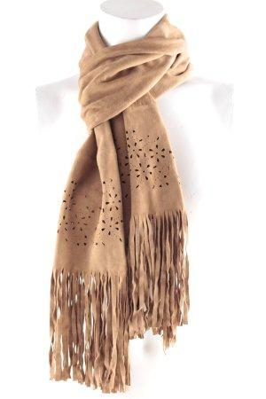 Sjaal met franjes lichtbruin bloemenprint casual uitstraling