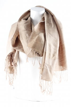 Fringed Scarf light brown-sand brown embellished pattern casual look
