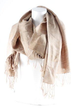 Écharpe à franges marron clair-brun sable motif embelli style décontracté