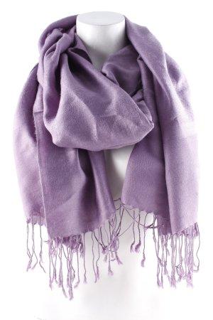 Écharpe à franges violet-gris violet motif embelli style décontracté