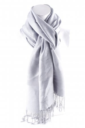 Fringed Scarf azure-pale blue embellished pattern casual look