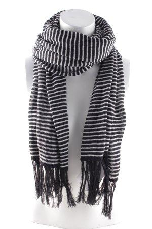 Fransenschal weiß-schwarz Streifenmuster Casual-Look