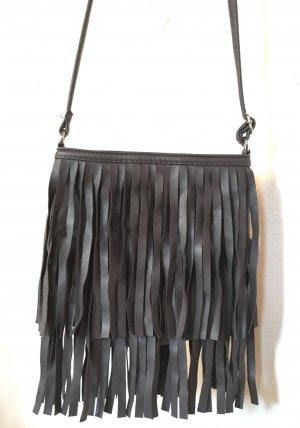 H&M Borsa con frange marrone-grigio Finta pelle