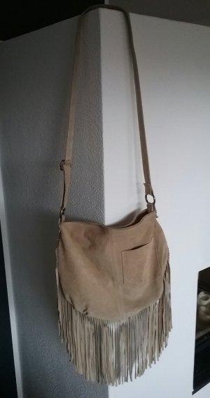 Genuine Leather Tas met franjes zandig bruin Leer