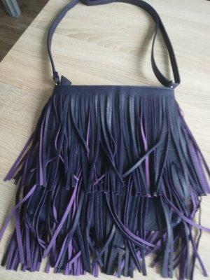 Bolso de flecos violeta oscuro tejido mezclado