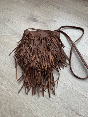 Clockhouse Fringed Bag brown-cognac-coloured