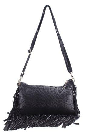 Fringed Bag black animal pattern hippie style