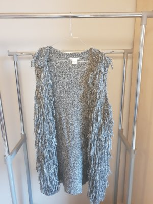 H&M Fringed Vest grey-silver-colored