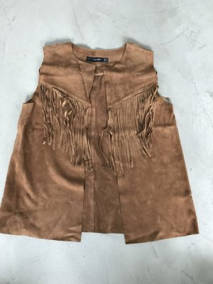 Hallhuber Fringed Vest brown-cognac-coloured