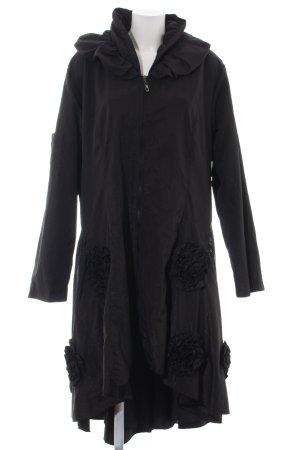 Franstyle bodenlanger Mantel schwarz Elegant