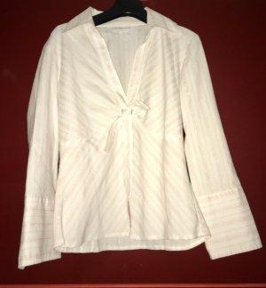Französische Bluse von Mim weiß mit pinken Streifen Gr. T2 (38)