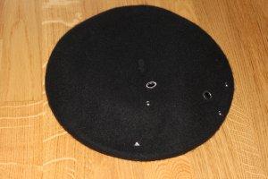 Französischer Barett Hut / Mütze in schwarz (Gr. M Kopfumfang)