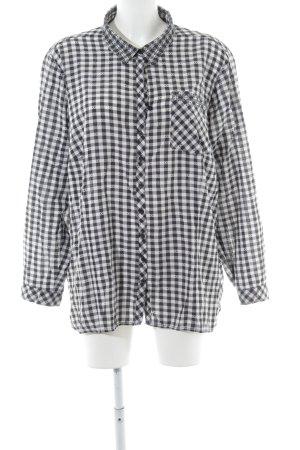 Frapp Blouse-chemisier blanc-noir motif à carreaux style décontracté