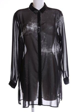 Frapp Blouse longue noir motif abstrait style extravagant