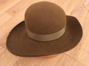 Giorgio  Armani Sombrero de fieltro marrón grisáceo Lana