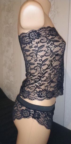 Frauen-Spitze Sexy Nachtwäsche, zwei teilen Dessous GR.40/42 Schwarz