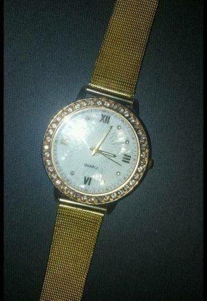 Frauen Stilvolle Damen römischen Ziffern gold Mesh Band Armbanduhr