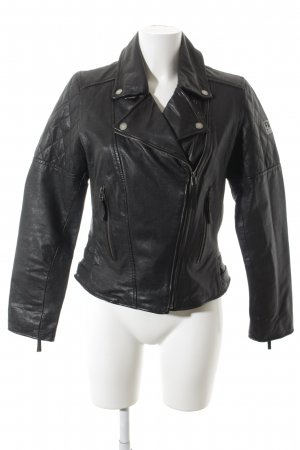 Freaky Nation Lederjacke schwarz-silberfarben Urban-Look