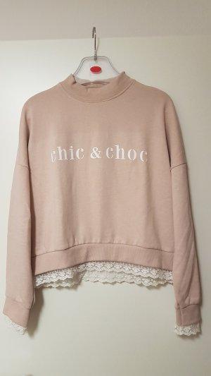Frech Made Femme Pullover Sweater mit Spitzenverzierung Gr. M
