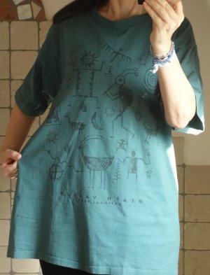 Fred Harvey T-Shirt aus den USA (Nationalpark Death Valley) Aufdruck mit Ethno Motiven, Baumwolle, oversize, schlammgrün, Aufdruck schwarz, Breite 57 cm, Länge: 76 cm, neuwertig, wie neu, Gr. XXL