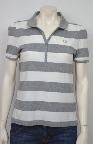 Fred Perry Polo shirt zilver-wit Katoen
